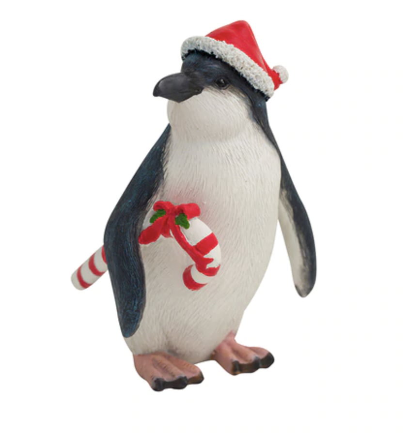 Penguin with a Candy Cane Figurine 14cm