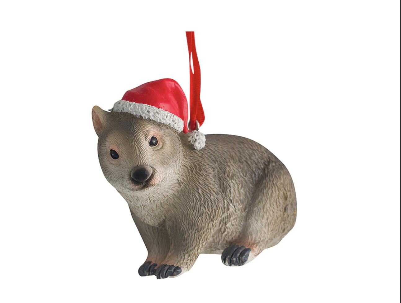 Wombat with Santa Hat Ornament